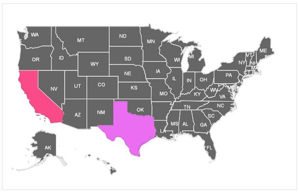 Map of US with State names Settings 2